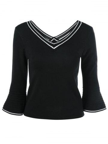 Fashion Flare Sleeve V Neck Knitwear