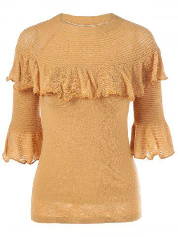 Affordable Flare Sleeve Flounce Knitwear