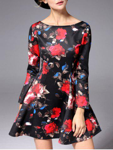 Hot Mini Flare Floral Prom Dress BLACK 2XL