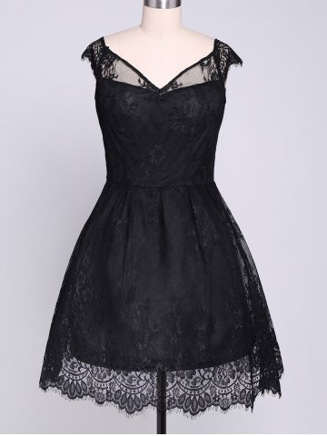Latest Lace Insert Mini A Line Party Dress