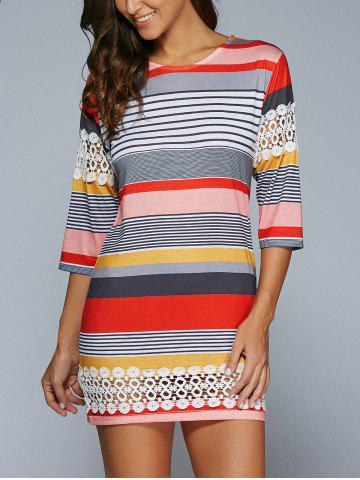 Outfit 3/4 Sleeve Striped Lace Spliced Mini Shift Dress COLORMIX S