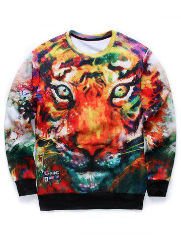 Discount 3D Animal Print Long Sleeve Round Neck Sweatshirt COLORMIX L