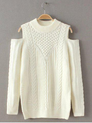 Chic Cut Out Cold Shoulder Sweater WHITE ONE SIZE