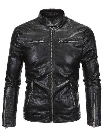 Shop Zippered Spliced Stand Collar Faux Leather Jacket BLACK 5XL