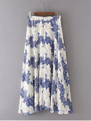 Hot High Waist Zippered Floral Print Chiffon Skirt