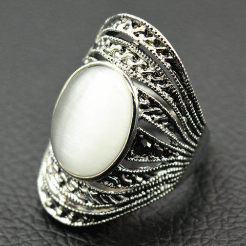 Faux Opal Hollowed Ring - White - 17