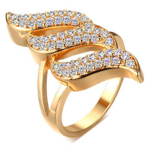 Trendy Hollowed Faux Zircon Ring GOLDEN 8