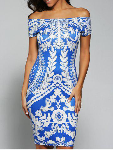 Hot Printed Off The Shoulder Bodycon Dress