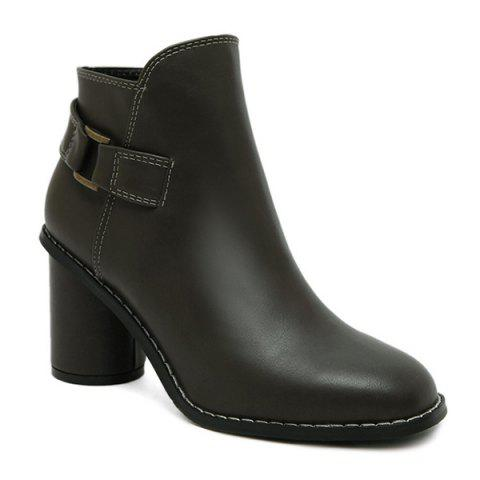 Chic Zipper Dark Colour PU Leather Ankle Boots