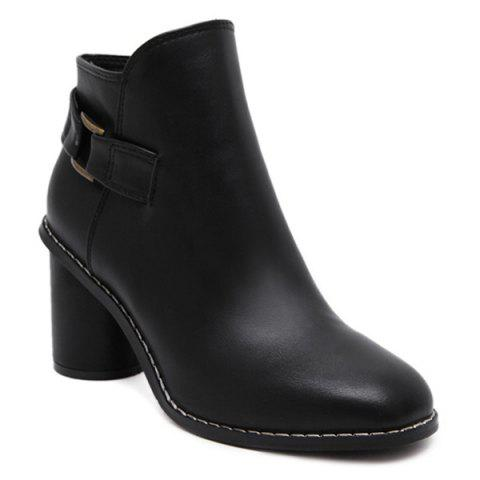 Best Zipper Dark Colour PU Leather Ankle Boots BLACK 39