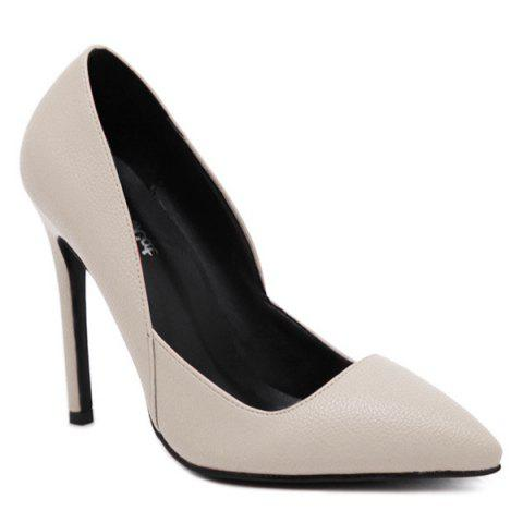 Stiletto Heel PU Leather Pointed Toe Pumps - Apricot - 38