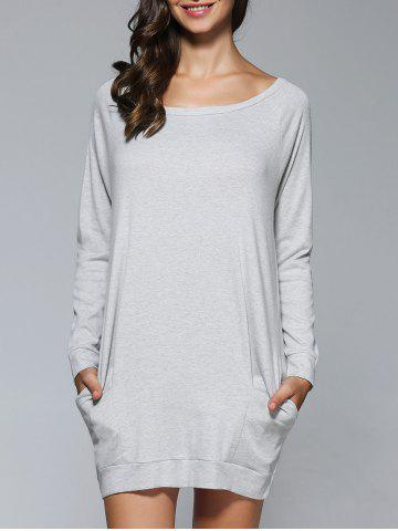 Unique Long Sleeves Pocket Design Dress GRAY L