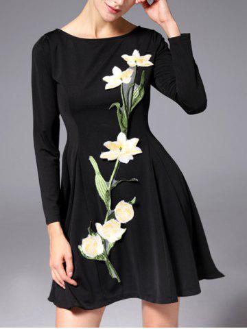 Outfit Slash Neck Long Sleeve Embroidered Mini A-Line Dress BLACK XL