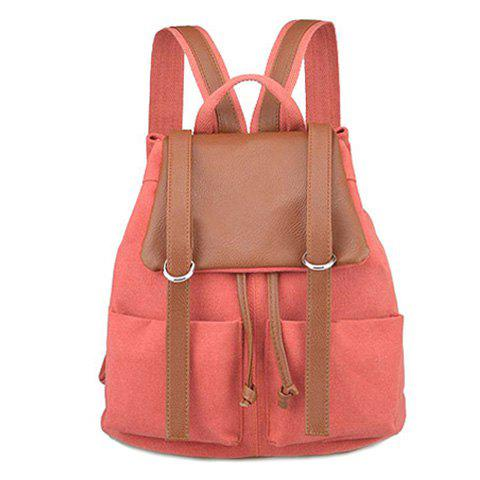 Fashion Colour Block Drawstring Splicing Backpack