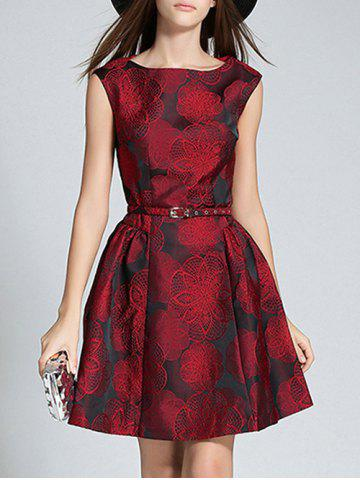Wine Red 2xl Boat Neck Jacquard A Line Semi Formal Dress