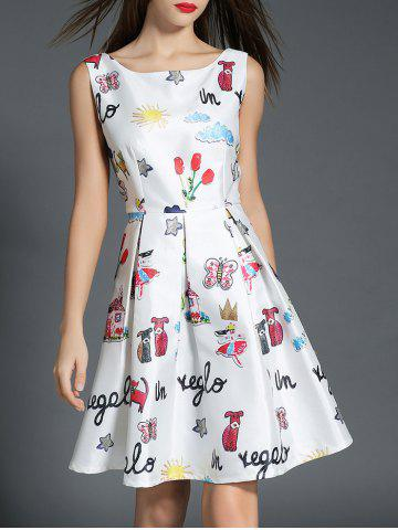 Buy Boat Neck Printed A Line Dress