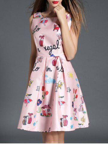 Shop Boat Neck Printed A Line Dress