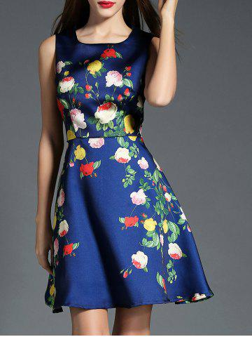 Affordable Sleeveless A Line Floral Print Dress BLUE S