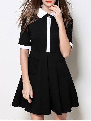 Store Contrasting Collar Fit and Flare Dress