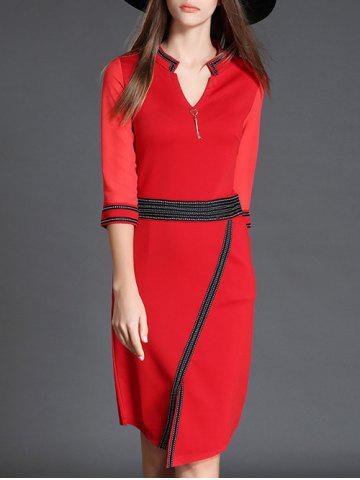 Discount V Neck 3/4 Sleeve Slit Color Block Bodycon Dress RED XL