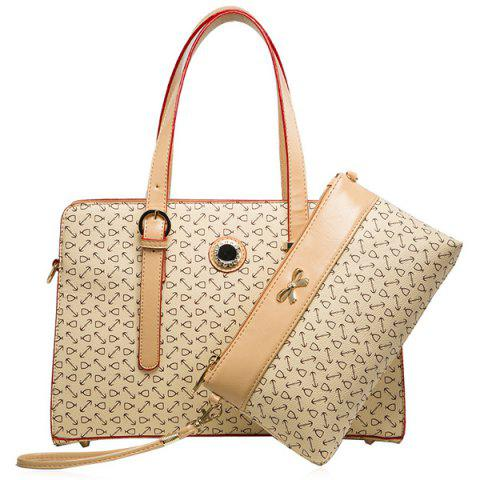 Hot Colour Splicing Buckle Rhinestones Tote Bag - LIGHT KHAKI  Mobile