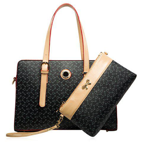 Best Colour Splicing Buckle Rhinestones Tote Bag - BLACK  Mobile