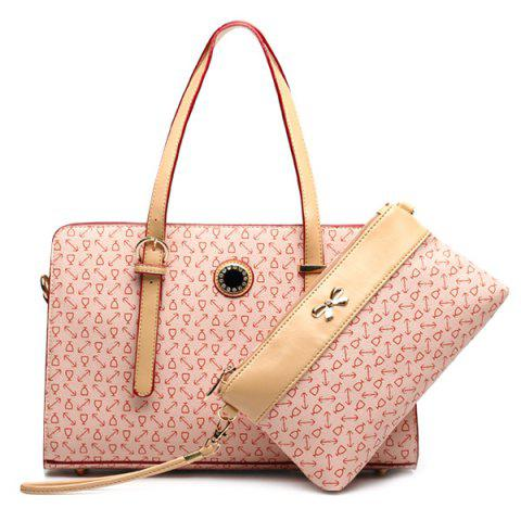 Colour Splicing Buckle Rhinestones Tote Bag - Pink