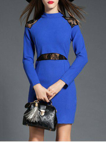Affordable Long Sleeve Lace Insert Dress
