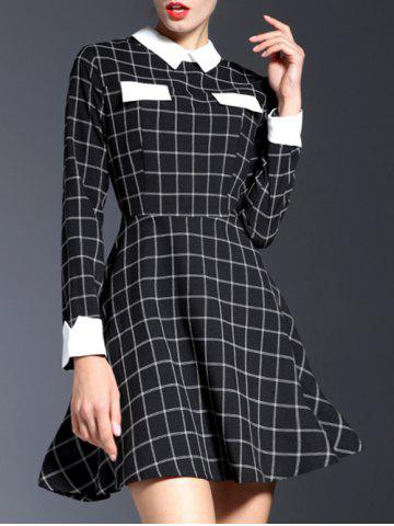 Hot Contrasting Collar Long Sleeve Check Dress