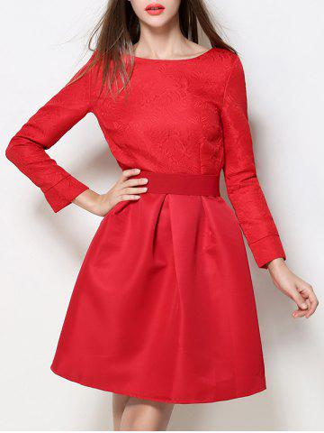 Boat Neck A Line Jacquard Dress - Red - S