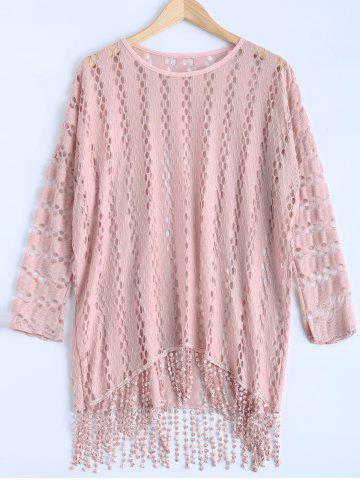 Latest Crochet High Low Fringe Batwing Knitwear