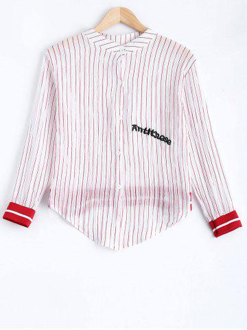Online Long Sleeve Letter Embroidered Stripe Shirt