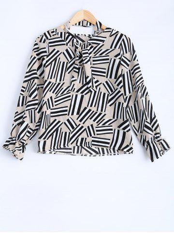 Affordable Bowknot Color Block Geometric Chiffon Blouse