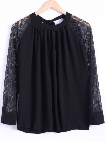 Outfit Tie Back Lace Sleeve Blouse