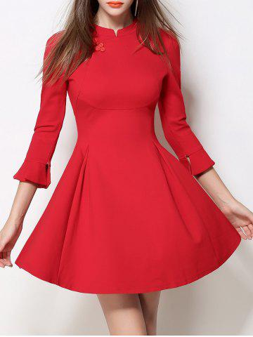 Online Mandarin Collar Fit and Flare Dress