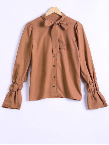 Unique Vintage Pussy Bow Long Sleeve Shirt - L DARK KHAKI Mobile