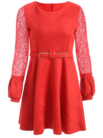 Chic Long Sleeve Lace Spliced Suede Short Dress