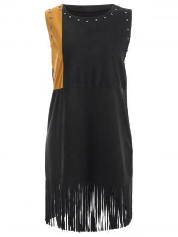 Fashion Rivet Sleeveless Suede Fringed Dress