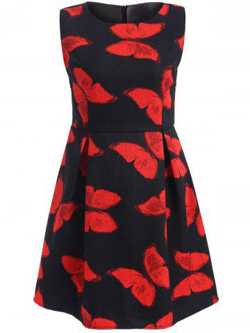 Online Sleeveless Butterfly Print A Line Dress