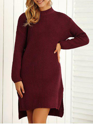 Store Textured Side Slit Asymmetrical Sweater