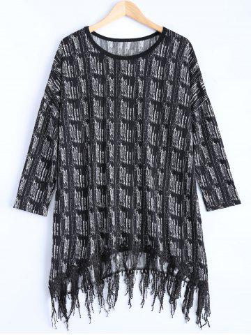 Store Asymmetric Fringed Sweater Dress