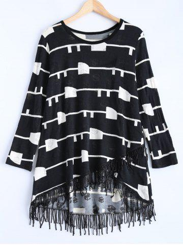Buy Geometric Pattern Asymmetric Fringed Sweater Dress