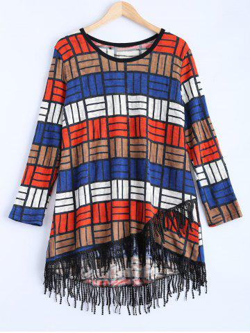 Unique Multicolor Plaid Asymmetric Fringed Sweater Dress