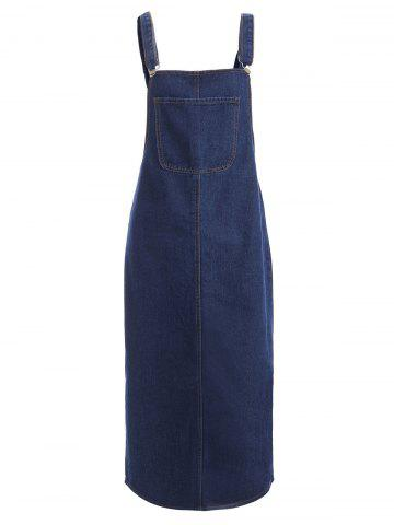 Latest Front Pocket Slit Denim Midi Pinafore Dress