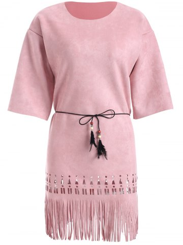 Shops Suede Cutout Fringed Dress