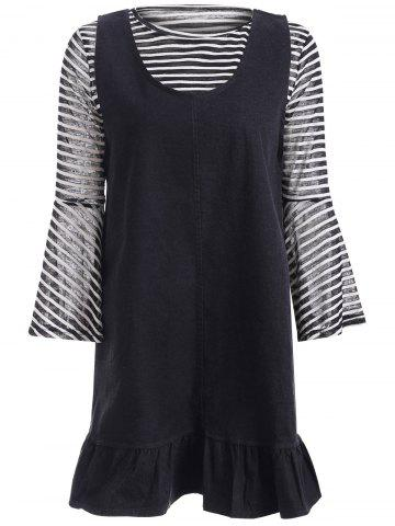 Discount Bell Sleeve Stripe Top and Denim Flounced Short Dress Twinset
