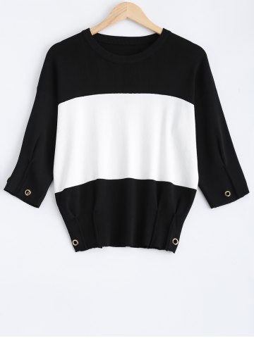 Shops Drop Shoulder Color Block Pullover Sweater