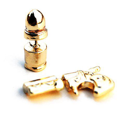 Latest Asymmetric Alloy Bullet Handgun Shape Earrings GOLDEN