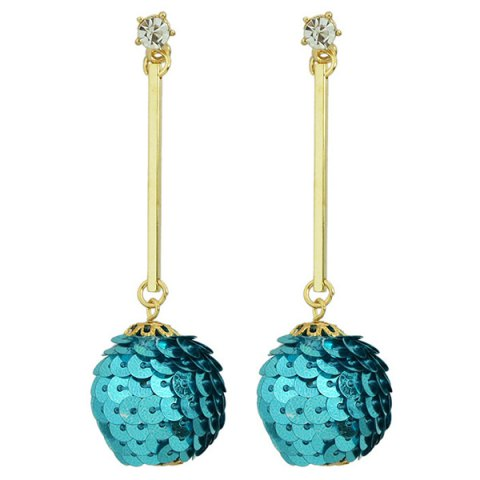 Rhinestone Sequins Ball Bar Earrings - BLUE