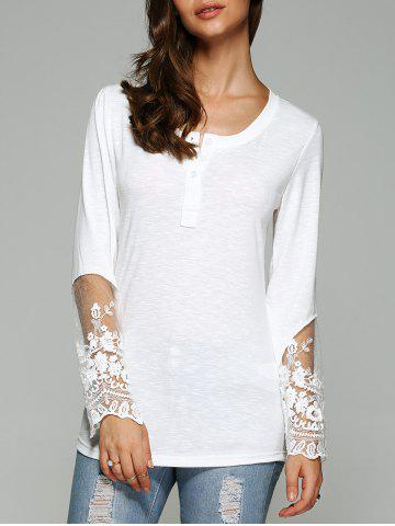 Latest Dovetail Design Long Sleeve Tulle Spliced Blouse
